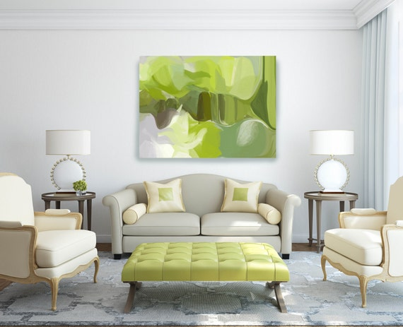 "The Garden. Abstract Paintings Art, Wall Decor, Extra Large Green Abstract Colorful Contemporary Canvas Art Print up to 72"" by Irena Orlov"