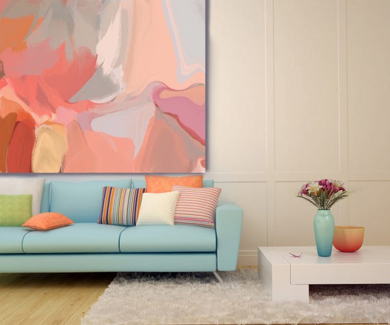 """Interpretation of a Dream. Original Oil Painting on Canvas, Contemporary Abstract Orange, Gray, Pink Oil Painting up to 50"""" by Irena Orlov"""