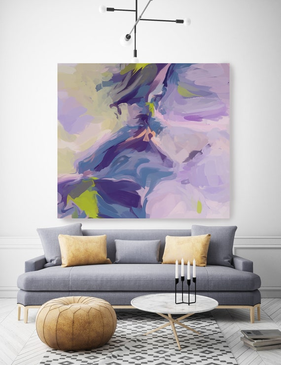 Celebrates the Idea Wall Art | Original Painting| Abstract Purple Blue Wall Art |Blue Art | Purple Wall Decor | Ready to Hang Canvas Print