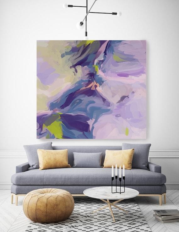 Celebrates the Idea Wall Art | Original Painting| Abstract Purple Blue Wall Art |Blue Art | Purple Wall Decor | Ready to Hang Canvas Print