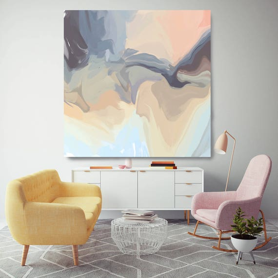 """Pink Orange Blue. Original Oil Painting on Canvas, Contemporary Abstract Oil Painting up to 50"""" by Irena Orlov"""