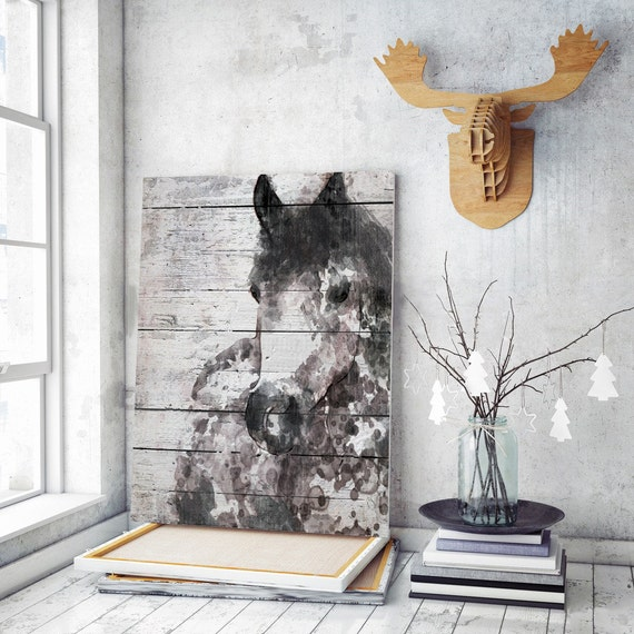 "Grey Horse. Extra Large Horse, Unique Horse Wall Decor, Grey Brown Rustic Horse Large Contemporary Canvas Art Print up to 72"" by Irena Orlov"