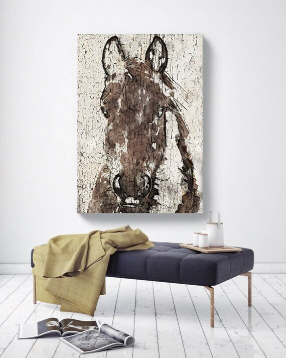 "Shadow Horse. Extra Large Horse, Horse Wall Decor, Brown White Rustic Horse, Large Contemporary Canvas Art Print up to 72"" by Irena Orlov"