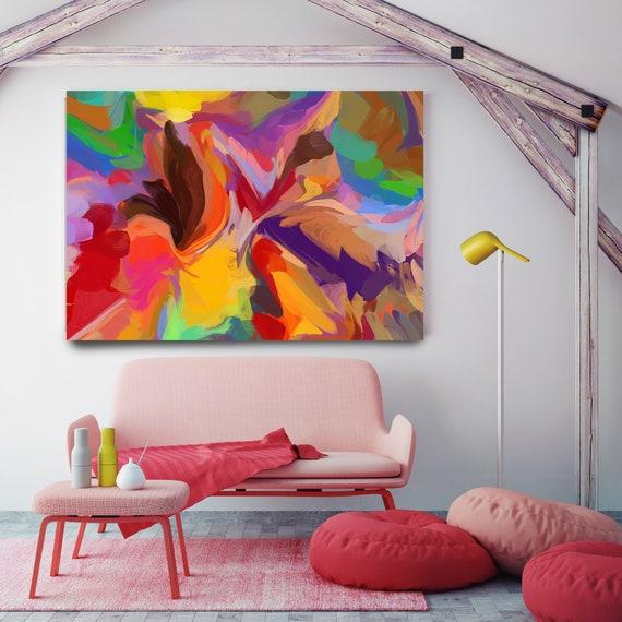 Bohemian, Mixed media, decorative boho art, boho Vibrant Colorful Painting Multicolor Abstract Painting Boho Painting Boho Chic Canvas Print
