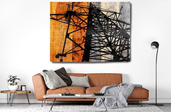 High-voltage tower 2. Industrial Painting, Industrial Artwork, Industrial Canvas Print, Urban Art, Coper Black Industrial Wall Art Decor