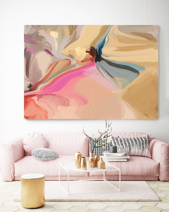 A Charming Blend, Gold Pink Yellow Abstract Painting, Abstract Painting, Contemporary Art, Hand Painted extra large canvas print