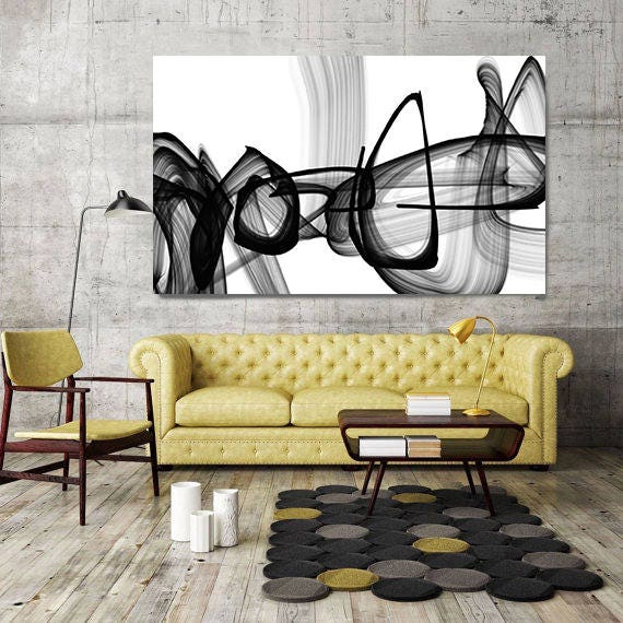 Black and White Wall Art, Original Artwork, Home Decor Wall Art, Black and White Prints, Abstract Print, Large Wall Art, Printed Painting