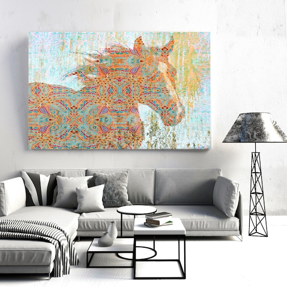 Pattern Horse| Horse Painting | Giclee | Farm Animal | Horse Art| Rustic Horse | Horse Canvas | Abstract Horse