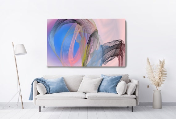 Pink Blue Contemporary Wall Art, Office Decoration Wall Art Electric Canvas Print, Home Decor, New Media, Color in the Lines 22