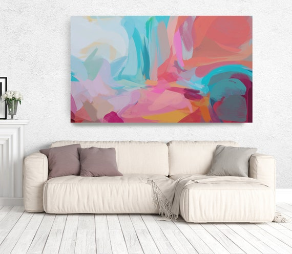 "The Color Movement 12, Abstract Painting Modern Wall Art Painting Canvas Art Print Art Modern Pink Red Blue up to 80"" by Irena Orlov"