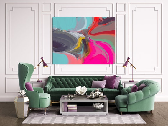 Large Abstract Art Colorful Art Abstract Canvas Print Large Modern Abstract Aqua Pink Abstract Wall Art, Abstract Painting, Cardinal Color 2
