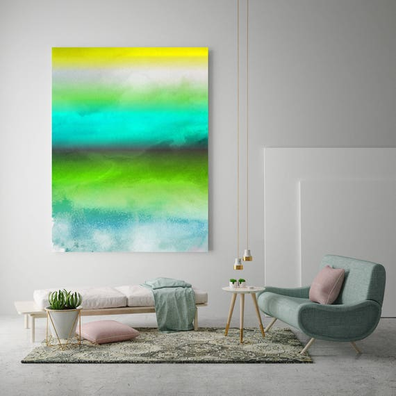 """Inspired by Rothko 27.. Watercolor Abstract Blue Green Canvas Art Print, Watercolor Painting up to 72"""" by Irena Orlov"""