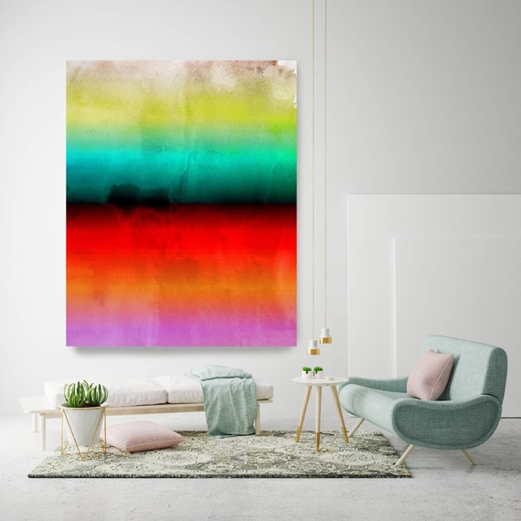 Abstract Minimalist Rothko Inspired 1-52-2. Abstract Painting Giclee of Original Wall Art, Blue Red Green Large Canvas Art Print up to 72""