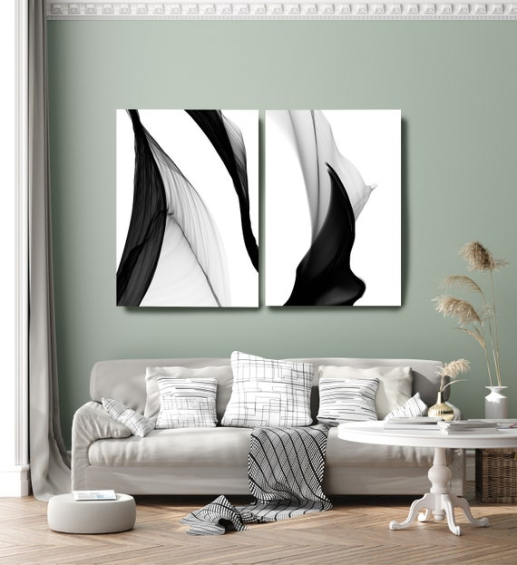 Minimalist Black and White,Black and White Diptych Canvas Wall Art Pair, Canvas Art Print, Abstract Black and White Canvas Wall Decor Art