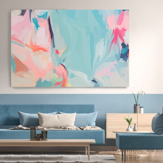 Large Blue Seagreen Mistyrose Abstract Painting, Abstract Canvas Print Abstract Art,Large Wall Canvas  Painting Lines of Life 4