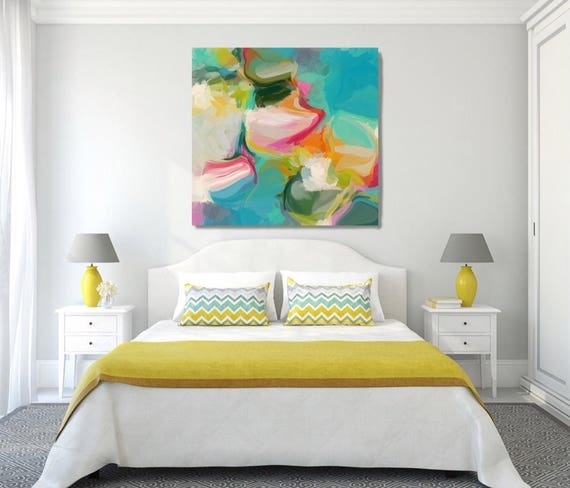 "Sensual. Abstract Paintings Art, Extra Large Abstract Aqua Green Colorful Contemporary Canvas Art Print up to 48"" by Irena Orlov"
