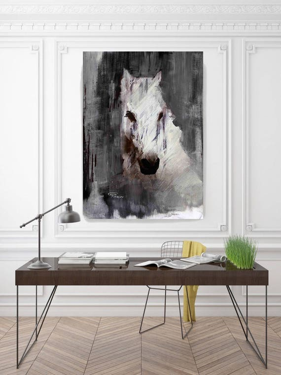 """Queen. Extra Large Rustic Black and White Farmhouse Horse Canvas Art Print, Cottage Chic Extra Large Horse Art up to 72"""" by Irena Orlov"""