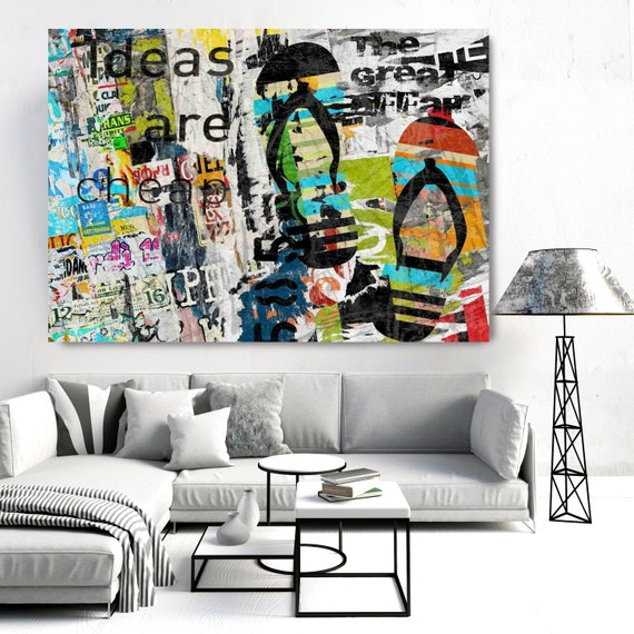 Graffiti Art - Urban Wall Art - Contemporary Wall Art - Urban Art - Large Abstract Art - Textured Painting - Ideas Are Cheap - Canvas Print