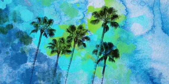 Palm trees on the beach, Large Canvas Print 30 x 60. Palm Trees Wall Decor Landscape Canvas Print by Irena Orlov