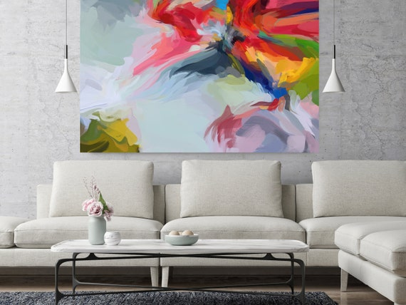 """Remember Yesterday?, Abstract Painting Modern Wall Art Painting Canvas Art Print Art Modern Red Blue Red up to 80"""" by Irena Orlov"""