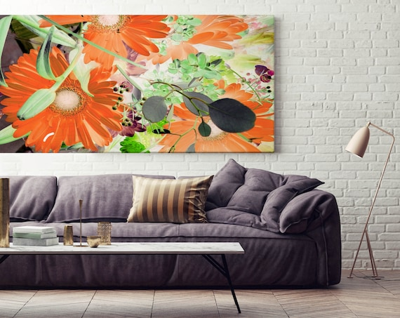 """Abstract Floral Painting, Flower Abstract Art, Abstract Colorful Contemporary, Canvas Art Print up to 72"""""""