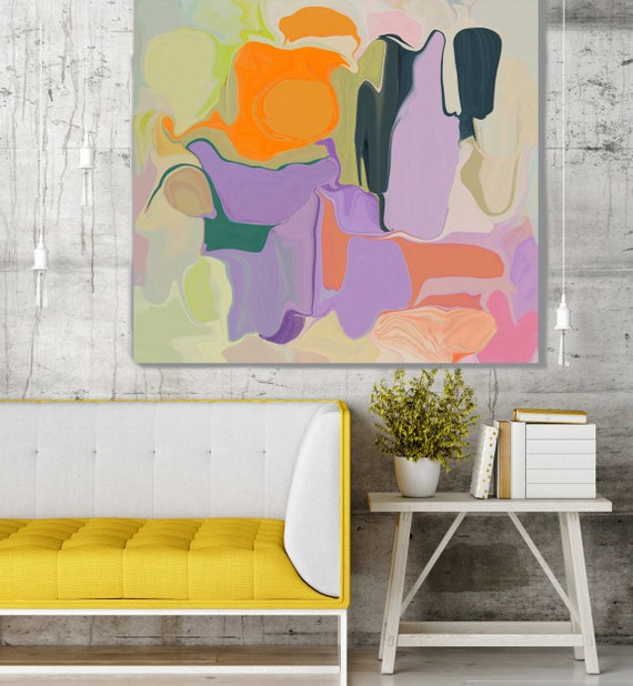 """BOHEMIAN DREAMS. Purple, Orange Abstract Art, Wall Decor, Large Abstract Colorful Contemporary Canvas Art Print up to 48"""" by Irena Orlov"""