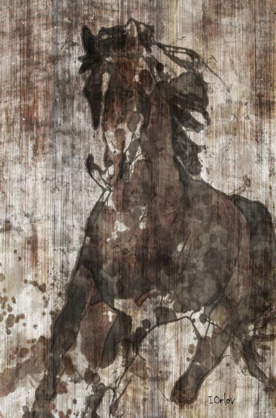 "Running Horse. Fine Art  Metal Print  24X36"" Irena Orlov"