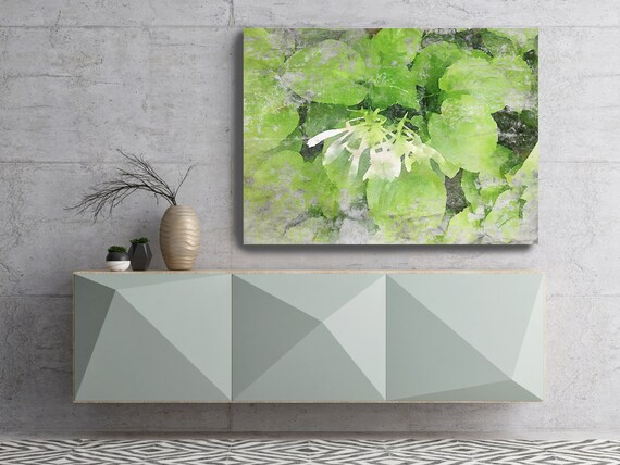"""Rustic White Flower landscape painting, green white landscape art  landscape watercolor- Irena Orlov - Watercolor Canvas Art Print up to 72"""""""