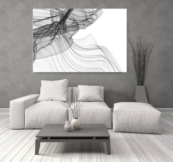 """ORL-7300 Abstract Expressionism in BW 21. Abstract Black and White, Wall Decor, Large Contemporary Canvas Art Print up to 72"""" by Irena Orlov"""