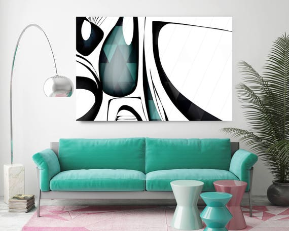 "Mid Century Abstract 13. Mid-Century Modern Green Black Canvas Art Print, Mid Century Modern Canvas Art Print up to 72"" by Irena Orlov"