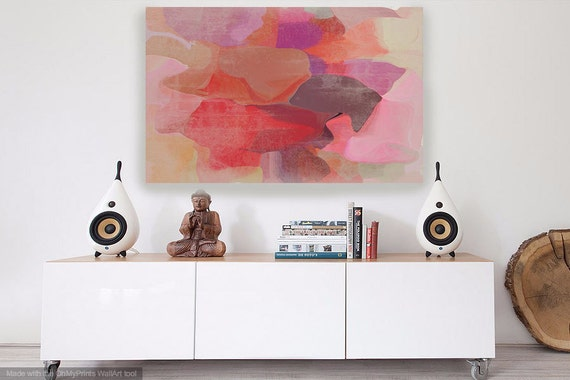 """Mix of Colors 4. Red Pink Abstract Paintings Canvas Art Print, Extra Large Abstract Colorful Canvas Art Print up to 72"""" by Irena Orlov"""