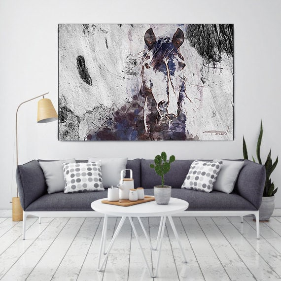 Mustang Horse 2. Extra Large Horse, Horse Wall Decor, Brown Purple Rustic Horse, Extra Large Canvas Art Print, Abstract Horse, Equine Art