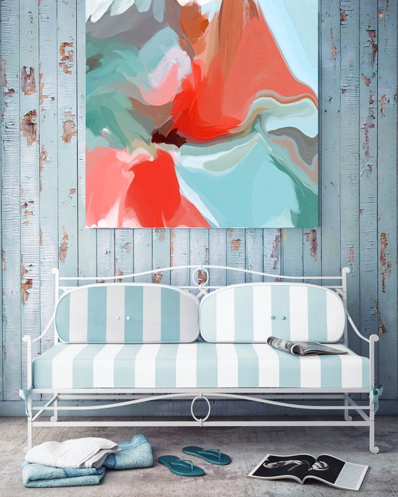 """Only a love. Original Oil Painting on Canvas, Contemporary Abstract Blue, Red, Pink, Teal Trend Color Oil Painting up to 50"""" by Irena Orlov"""