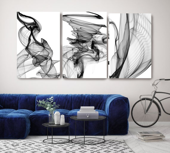 New Media Black White TRIPTYCH canvas art prints-3 panels Stretched Canvas Wall Art, Canvas Art Print, Abstract Black Wall Decor