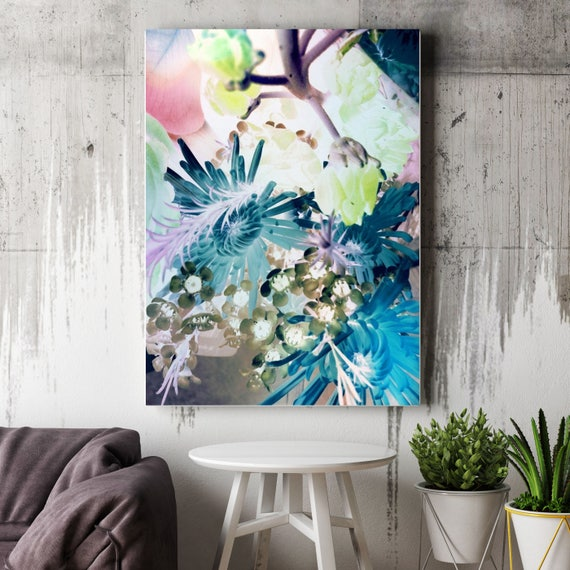 "Fashionista Blooms. Floral Painting, Pink Blue Abstract Art, Large Abstract Colorful Contemporary Canvas Art Print up to 72"" by Irena Orlov"
