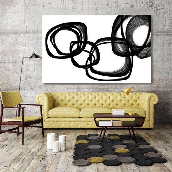 "Abstract Expressionism in Black And White 19. Unique Abstract Wall Decor, Large Contemporary Canvas Art Print up to 72"" by Irena Orlov"