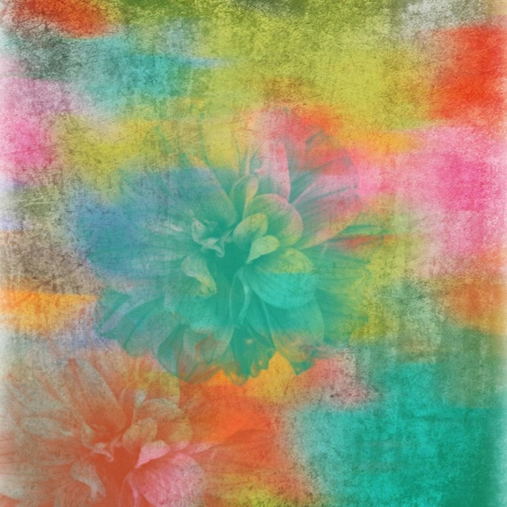 "Completely unique. Floral Painting, Red Green Abstract Art, Large Abstract Colorful Contemporary Canvas Art Print up to 48"" by Irena Orlov"