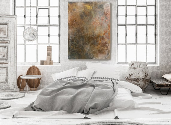 Bronze Copper Rustic Abstract Painting Art Abstract Painting Extra Large Rustic Painting Extra Large Abstract Canvas Print Copper Textured
