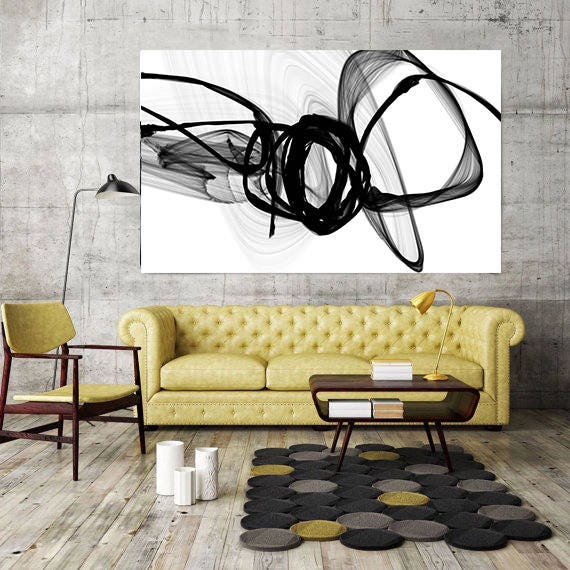 BW Decor, Black And White Abstract Canvas, Contemporary Abstract Art ...