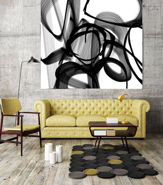 "ORL-7145 Abstract Poetry in Black and White 88. New Media Abstract Black and White Canvas Art Printup to 50"" by Irena Orlov"