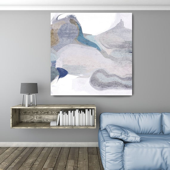 "An Arctic Moon, Art Abstract Print on Canvas up to 50"", White Powder Blue Gray Abstract Canvas Art Print by Irena Orlov"