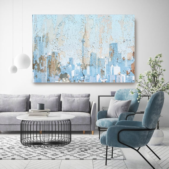 New York City Skyline in Blue, Cityscape Art, Urban Art, City Wall Art, Urban Wall Art,Large Painting City, Urban Canvas Art Print