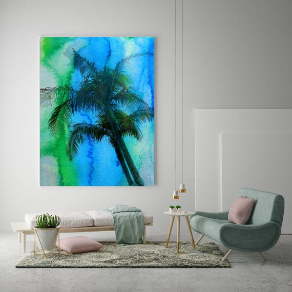 "Tropical beauty- Palm Tree.  Extra Large Blue Green Palms Canvas Art Print up to 72"" by Irena Orlov"