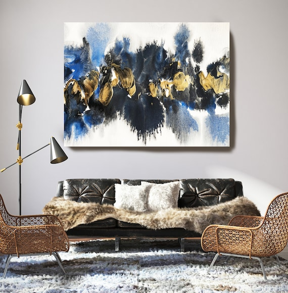 Gold in Blue Watercolor Abstract 1, Wall Art Decor, Gold Abstract Art, Large Wall Art Abstract Canvas Print, Gold Blue Wall Art for Home