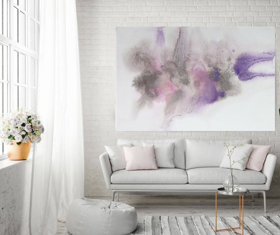 "Dreamy Pastel. Contemporary Abstract Purple Gray Pink Canvas Art Print up to 72"", Extra Large Abstract Canvas Art Print by Irena Orlov"