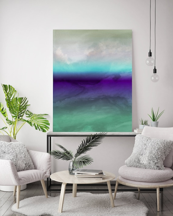 """Inspired by Rothko 7. Green Blue Purple Watercolor Abstract Canvas, Extra Large Abstract Colorful Canvas Art Print up to 72"""" by Irena Orlov"""