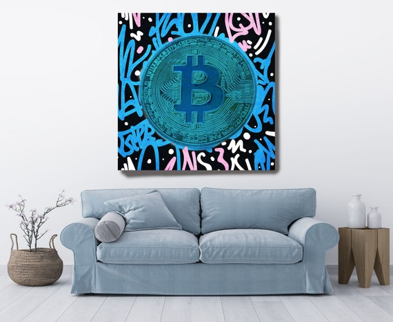 Blue Bitcoin Digital Currency Canvas Print, Cryptocurrencies Textured Art, Cryptocurrency Bitcoin Graffiti, Print on Canvas