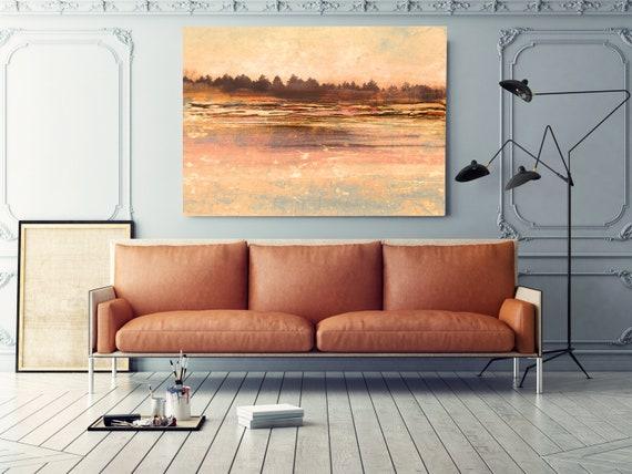 rustic landscape painting, landscape art, landscape art print, rustic landscape Canvas Print, Rural Landscape Morning Haze