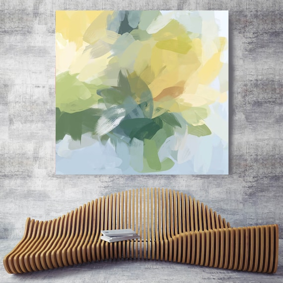 """Let It Grow 5. Green Yellow Abstract Art, Wall Decor, Large Abstract Colorful Contemporary Canvas Art Print up to 48"""" by Irena Orlov"""