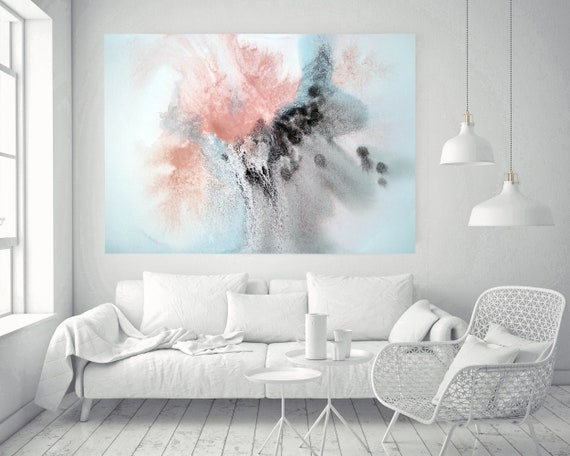 """Pink Blue Brown Grey Watercolor abstract splash 1. Pink Brown Abstract Paintings Contemporary Canvas Art Print up to 72"""" by Irena Orlov"""